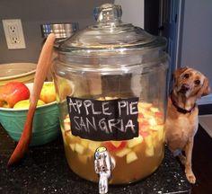 APPLE PIE SANGRIA = white wine +  apple cider + club soda + caramel vodka + honey crisp apples + pears + cinnamon sticks