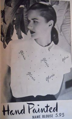handpainted blouses, made to order....1946 Charm Magazine