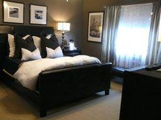 wall colors, ralph lauren, gray walls, bedroom design, black white, white bedrooms, master bedrooms, black furniture, modern bedrooms
