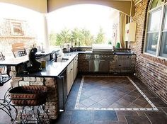 Outdoor cooking and prep area.