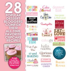 28 Popular Dessert Bloggers share their Favorite Go-to Cupcake Recipe.  Including: Bakerella, Cupcake Project, Sprinkle Bakes, Sweetopia, Brown Eyed Baker, 17 and Baking, Sweetapolita, Bakers Royale, + 21 more blogs!