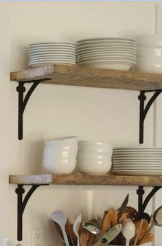 natural wood. open shelving. white dishes.