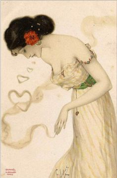 Smoking Women By Raphael Kirchner  Completion Date: 1904  Style: Art Nouveau (Modern)  Series: Smoking Women