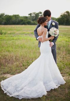 Love this bride's lace dress! Wow!