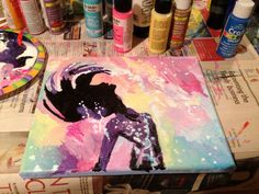 The Little Mermaid Silhouette Abstract Painting on Etsy, $18.00