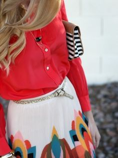 #Red #Shirt & #Printed #Pleated #Skirt #Style #Fashion #Women