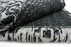 Ikat Black Queen Quilt