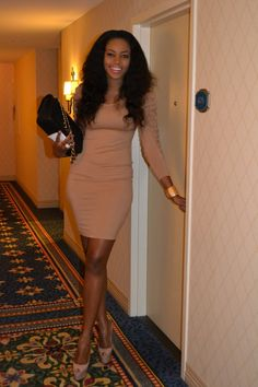 #nollywood www.watch-nigerian-movies.com #nigerianmovies actress Yvonne Nelson wears a Bebe dress with Christian Louboutin heels and the classic Chanel flap bag in NYC