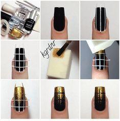 Black and gold nails – DIY Nail Art