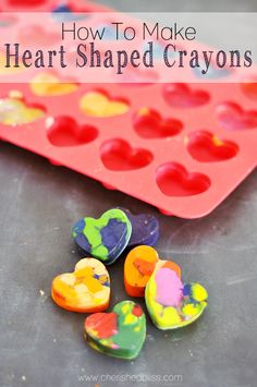 Made these fun Heart Shaped Crayons with your little one just because, or they make great Valentine's Day gifts too!