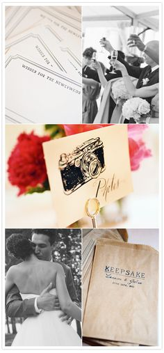 LOVE the camera Photo sign and the brown bags for guests to put photo booth photos in