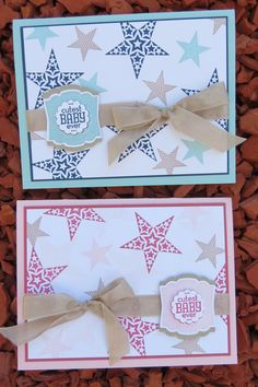 "Make your own ""Cutest Baby Ever"" card using the Simply Stars stamp set.  Use pink, blue or any gender neutral color.  Wrap it all up with a satin ribbon.  DIY baby card"