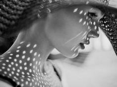 shadow, white, fashion photography, light, black, dot, portrait, sun hats, photographi