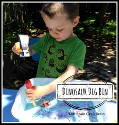 Make a Dinosaur Dig Bin from goop and a few toys.  Just grab the cornstarch, wait a bit and dig for fossils!  Great messy play...