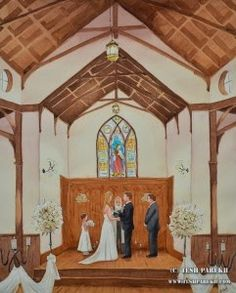 How about a painting to remember your wedding by! Tesh Parekh is there, painting WHILE your event is going on and finishes by the time your celebration is over. What a great, one-of-a-kind wedding keepsake!  -  http://ncweddingministerblog.blogspot.com/2014/07/tesh-and-mica-parekh-talented-wedding.html