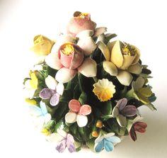 Vintage Capodimonte Floral Arrangement by GardeningGalAtWork, $29.99 #RT