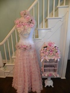 Image detail for -Shabby Pink Roses and Lace Dress Form Lauren-shabby,chic,pink,roses ...