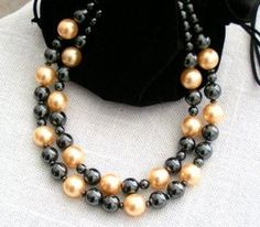 Bold Hematite Pearlized Shell Double Strand Necklace $45