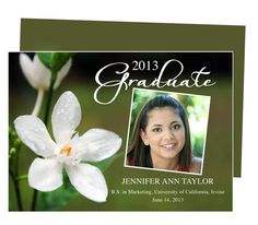 Graduation Announcements Templates for Word, Publisher, OpenOffice, Apple iWork Pages : Printable DIY Flower Graduation Party Announcement Template
