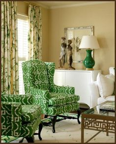 green homes, chair fabric, color, formal living rooms, wing chairs, living room designs, kelly green, graphic patterns, wingback chairs