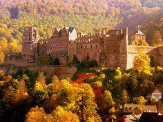 Autumn, Heidelberg Castle, Germany  photo via water