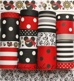 Mouse Pirate 18 Yards Printed Grosgrain by HairbowSuppliesEtc