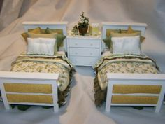 DOLLS HOUSE MINIATURES  Twin bedset with by LittleHouseAtPriory, $80.00