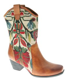 Camel Grazia Leather Cowboy Boot
