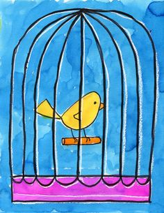 Art Projects for Kids: Bird in a Cage Watercolor Tutorial. Step by step instructions.
