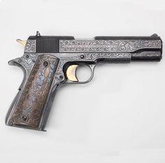 firearm, model, japan, colt 1911, art, pilot, chopper, gun, embellishments
