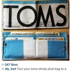 Toms dust bags turned into wallets. These look pretty cool.