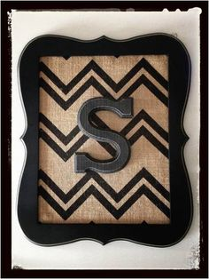 Home Decor Framed Wooden Letter w/ Burlap