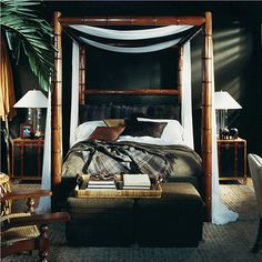 """Ralph Lauren Home Archives, """"Cape Lodge"""", Bedroom, 2008; """"Inspired by an exotic estate with echoes of safari, a warm earth-toned palette weaves together colonial, campaign and Moderne furnishings in mahogany, rattan and tent canvas with vachetta leather, madras and brass."""""""