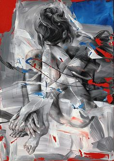 Artist: Pier Toffoletti (b. 1957); Italy {contemporary figurative female semi-abstract seated woman painting} In this style, the subject appears to reach through the rough brush strokes.