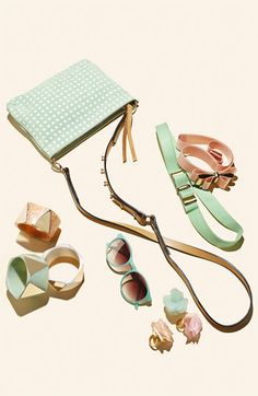 Pretty pastels make the perfect spring accessories. Update your wardrobe with cute add-ons like minty, retro-inspired sunglasses and an armful of chunky bangles.