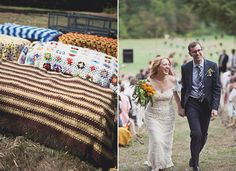 Colourful crochet knitted blankets on hay bales