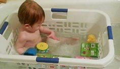 Parenting Tips: Bathe your toddler in a laundry basket so that their toys don't float away. GREAT Idea !