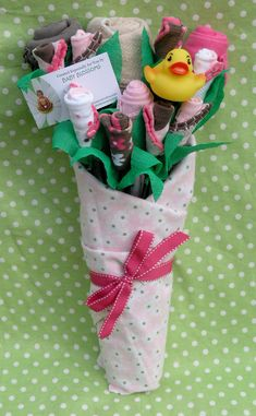 Baby clothes bouquet for baby shower gifts.