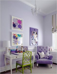 Caroline would love this purple room w/pop of green