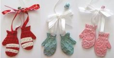 This Cute Clay Mittens Ornament can come in any color you'd like. We especially like the glittery blue mittens.
