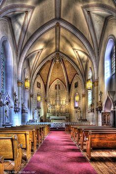Inside the Loretto Chapel in Santa Fe, New Mexico