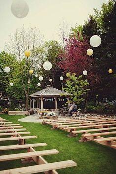 bench, wedding ideas, reception ideas, beauti backyard, backyard parties, backyard weddings, ceremony seating, outdoor weddings, backyards