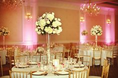 Love this subtle pink lighting. Reasonable for an evening wedding?