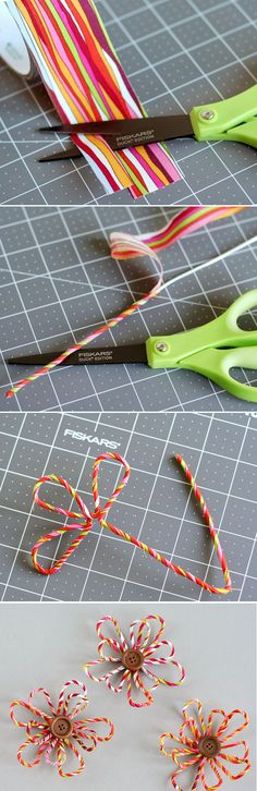 Wrap Duck Fabric Tape around wire to create these flowers! www2.fiskars.com