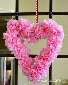 Valentine crafts tissue paper heart wreath