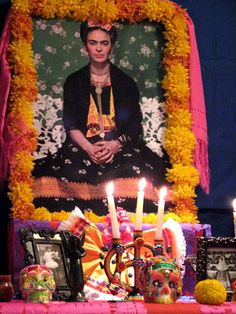 Frida Kahlo Day of the Dead altar #diadelosmuertos #dayofthedead day of the dead altars, de muerto, shrine, los muerto, dia de, de los, amaz artist, artist frida, frida kahlo
