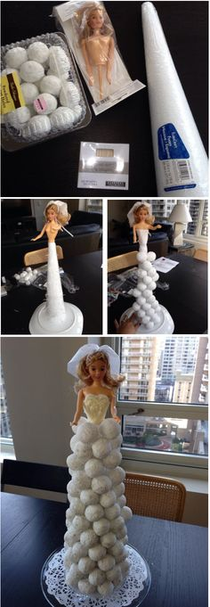 DIY donut hole doll bride display...easy centerpiece for bridal shower, engagement party, or wedding brunch.