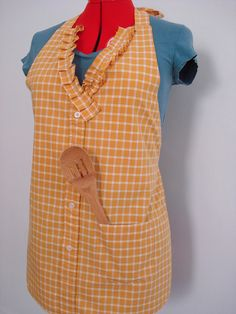 Women's Upcycled Button-Up Shirt Apron by connect the dots crafts, via Flickr