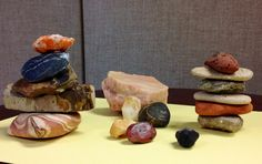 Make Cairns.  Encourage preschoolers to make stacks of rocks. Explore which rocks stack best. Tell them that some people in the West stack rocks on hiking trails to help people stay on the trails while they are hiking. These stacks are called cairns.