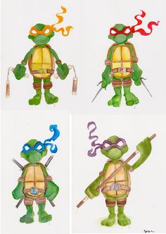 ORIGINAL ART - TMNT, set of 4 paintings on heavy cardstock. Paper sizes differ, but each turtle is approx. 8 inches tall.   (Bought these yrs ago at a con, but sadly can't remember the artist's name, or make out his signature. :/)